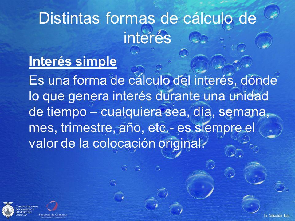 Interés simple ¿Cómo se calcula el valor futuro (VF) de una colocación de un valor presente (VP) en n unidades de tiempo.