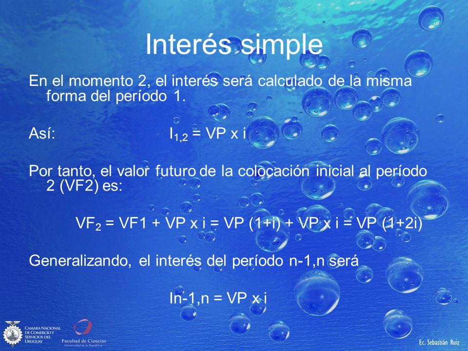 Interés simple De esta forma, en la última unidad de tiempo se tendrá un valor futuro (VF n ): VFn = VP (1+ni) Un dato de cuidado en la fórmula anterior es que siempre n e i tienen que estar expresadas en la misma unidad de tiempo.