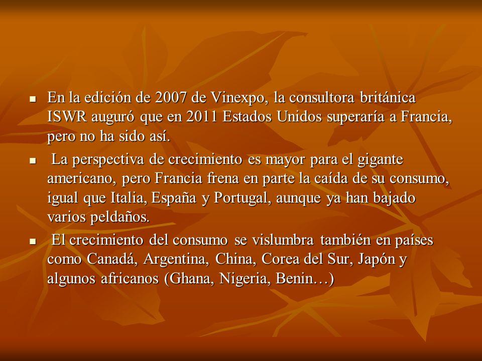 En la edición de 2007 de Vinexpo, la consultora británica ISWR auguró que en 2011 Estados Unidos superaría a Francia, pero no ha sido así.