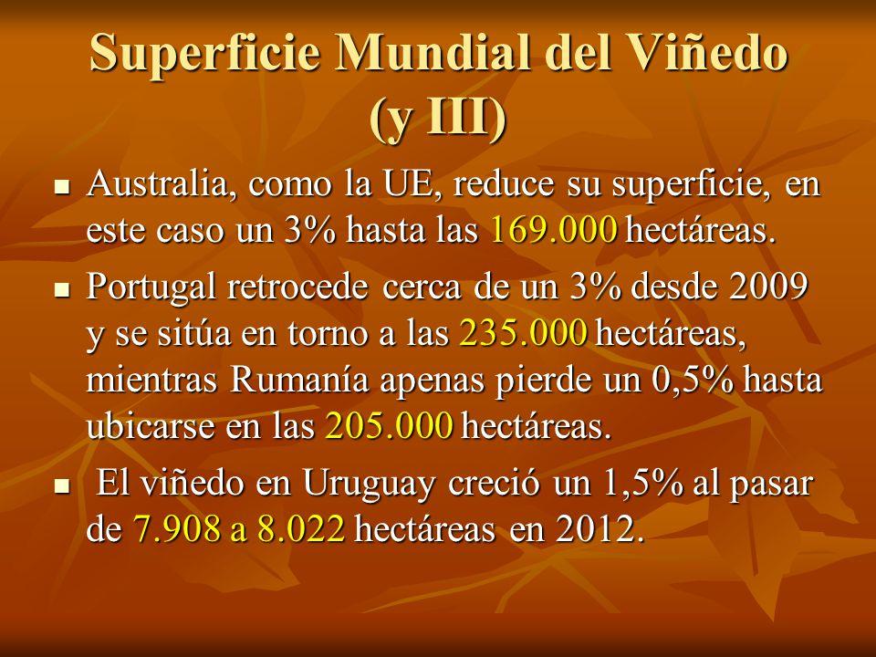 Superficie Mundial del Viñedo (y III) Australia, como la UE, reduce su superficie, en este caso un 3% hasta las 169.000 hectáreas.