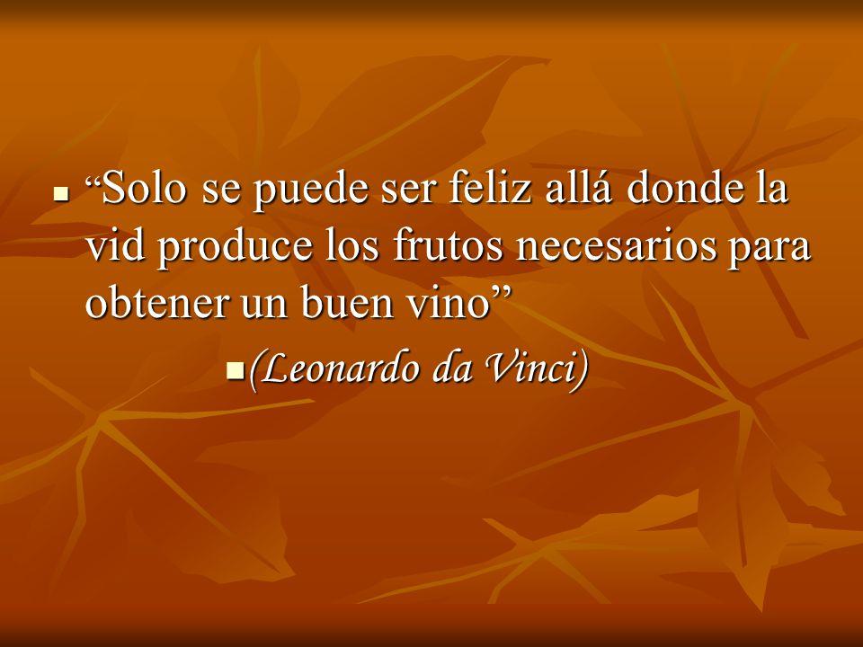 Solo se puede ser feliz allá donde la vid produce los frutos necesarios para obtener un buen vino Solo se puede ser feliz allá donde la vid produce los frutos necesarios para obtener un buen vino (Leonardo da Vinci) (Leonardo da Vinci)