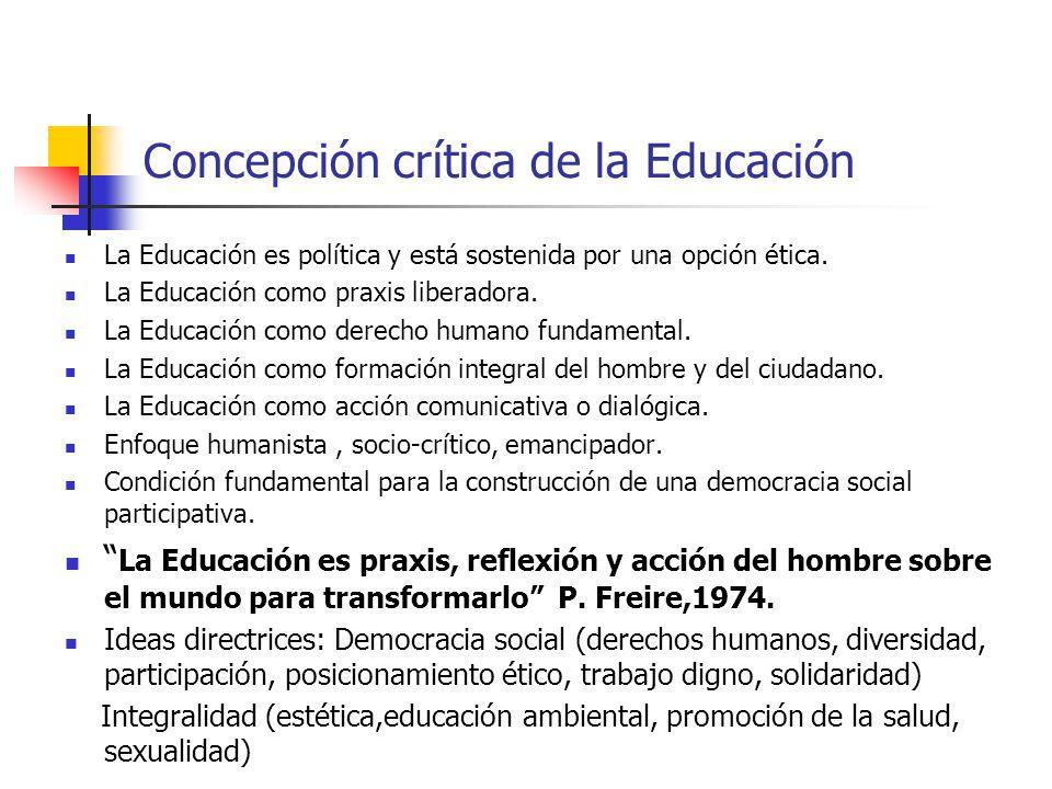 Concepción crítica de la Educación La Educación es política y está sostenida por una opción ética. La Educación como praxis liberadora. La Educación c