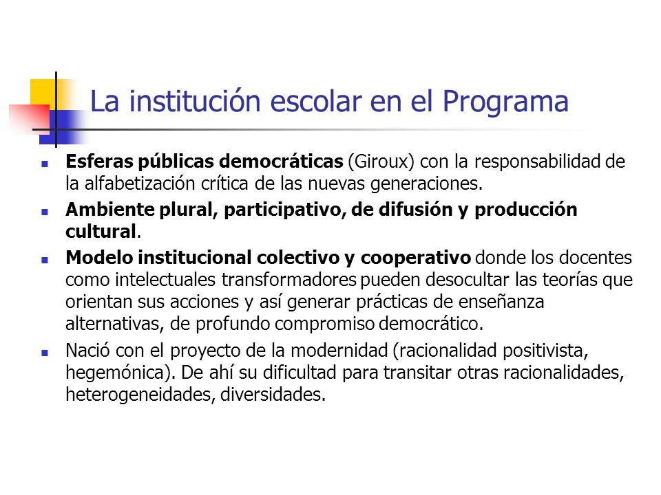 La institución escolar en el Programa Esferas públicas democráticas (Giroux) con la responsabilidad de la alfabetización crítica de las nuevas generac