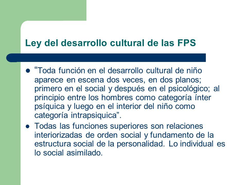 Ley del desarrollo cultural de las FPS Toda función en el desarrollo cultural de niño aparece en escena dos veces, en dos planos; primero en el social y después en el psicológico; al principio entre los hombres como categoría ínter psíquica y luego en el interior del niño como categoría intrapsiquica.