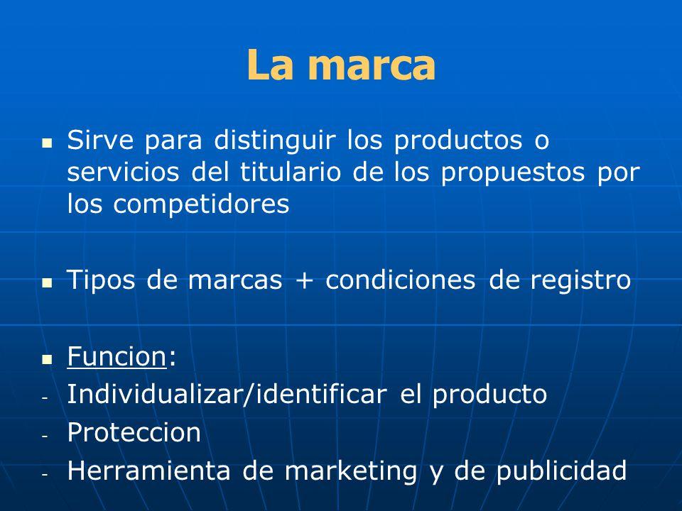 La marca Sirve para distinguir los productos o servicios del titulario de los propuestos por los competidores Tipos de marcas + condiciones de registr
