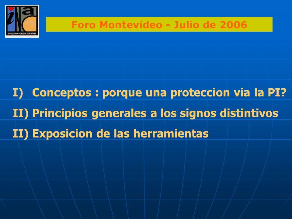I)Conceptos : porque una proteccion via la PI? II)Principios generales a los signos distintivos II) Exposicion de las herramientas Foro Montevideo - J