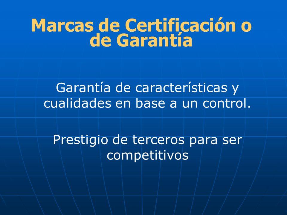 Marcas de Certificación o de Garantía Garantía de características y cualidades en base a un control. Prestigio de terceros para ser competitivos