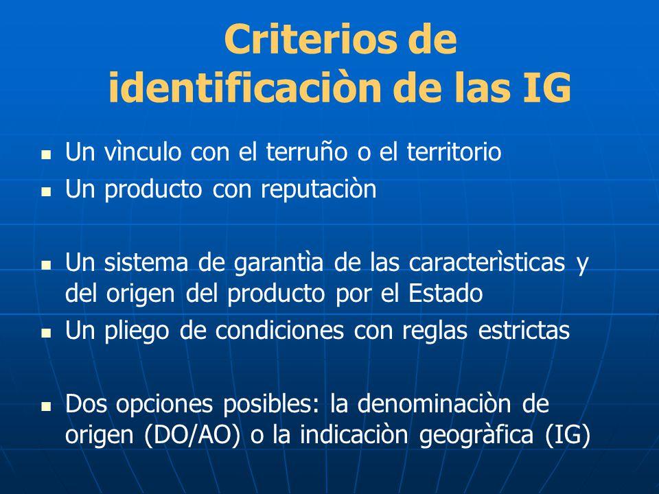 Criterios de identificaciòn de las IG Un vìnculo con el terruño o el territorio Un producto con reputaciòn Un sistema de garantìa de las caracterìstic