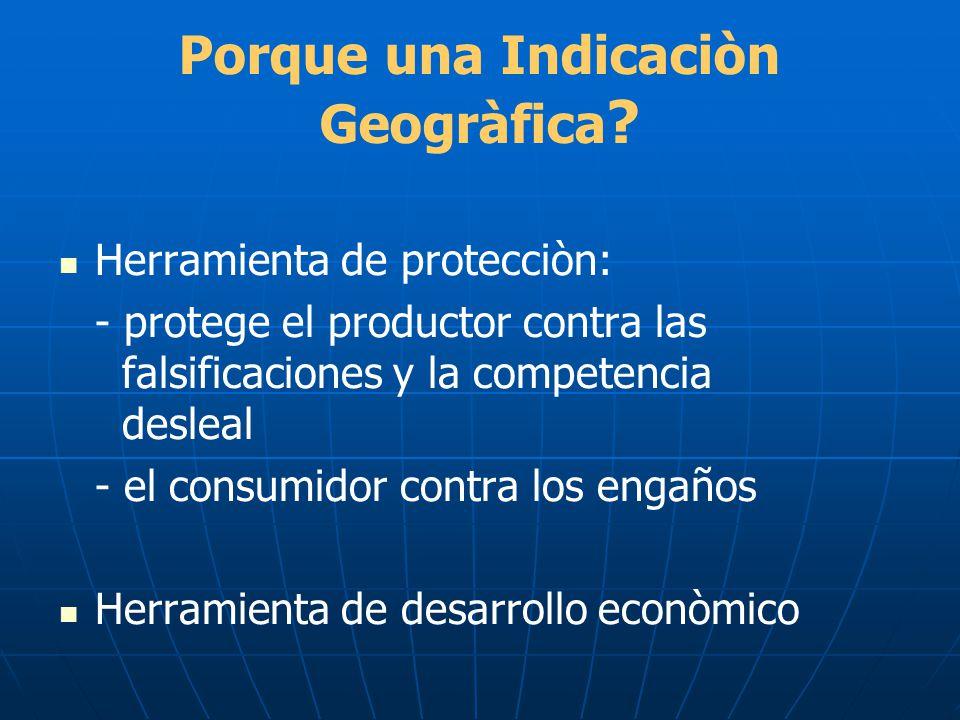 Porque una Indicaciòn Geogràfica ? Herramienta de protecciòn: - protege el productor contra las falsificaciones y la competencia desleal - el consumid