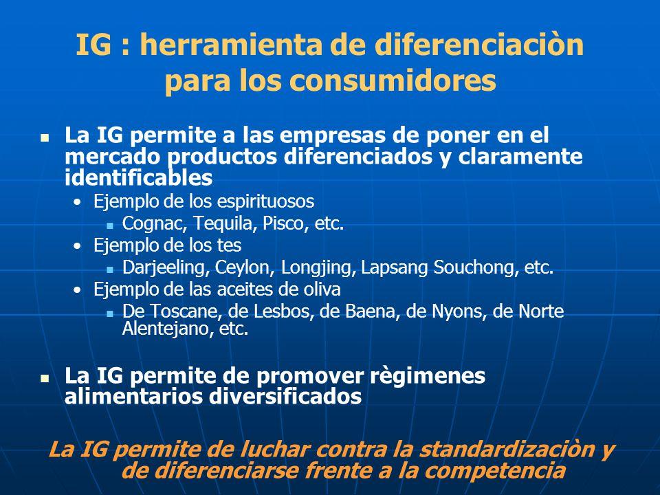 IG : herramienta de diferenciaciòn para los consumidores La IG permite a las empresas de poner en el mercado productos diferenciados y claramente iden