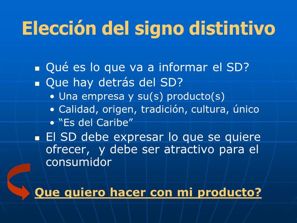 Elección del signo distintivo Qué es lo que va a informar el SD? Que hay detrás del SD? Una empresa y su(s) producto(s) Calidad, origen, tradición, cu