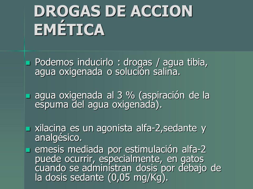 DROGAS DE ACCION EMÉTICA Podemos inducirlo : drogas / agua tibia, agua oxigenada o solución salina. Podemos inducirlo : drogas / agua tibia, agua oxig