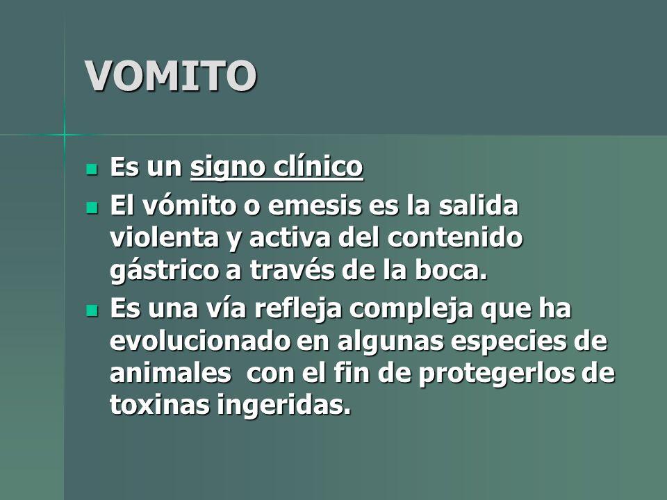 VOMITO Es un signo clínico Es un signo clínico El vómito o emesis es la salida violenta y activa del contenido gástrico a través de la boca. El vómito