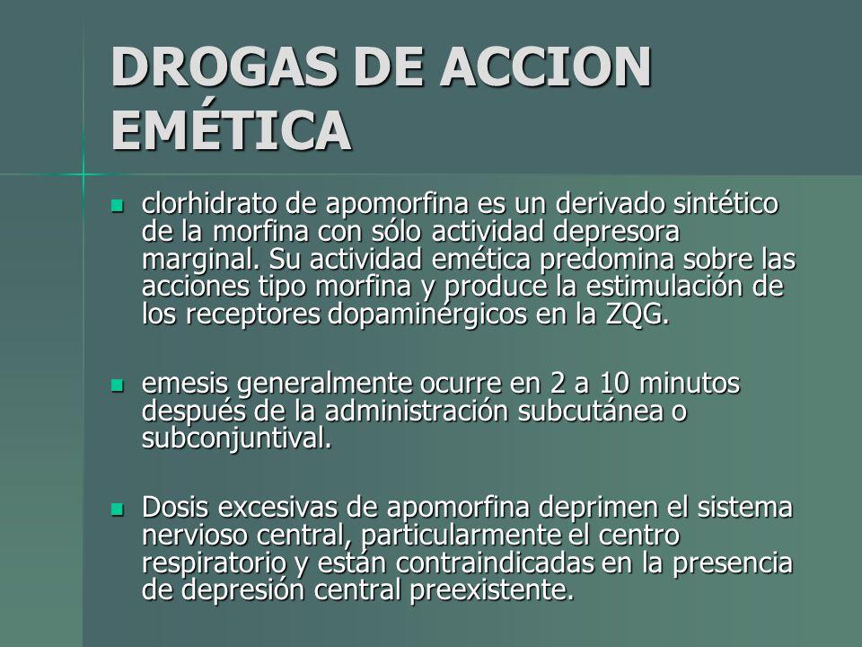 DROGAS DE ACCION EMÉTICA clorhidrato de apomorfina es un derivado sintético de la morfina con sólo actividad depresora marginal. Su actividad emética