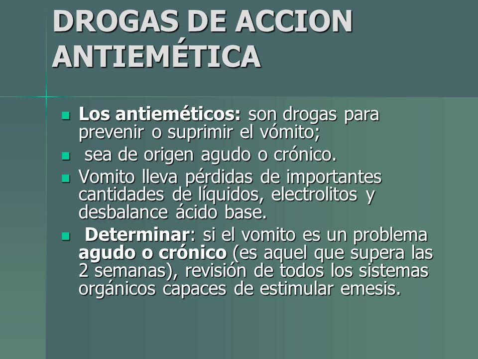 DROGAS DE ACCION ANTIEMÉTICA Los antieméticos: son drogas para prevenir o suprimir el vómito; Los antieméticos: son drogas para prevenir o suprimir el