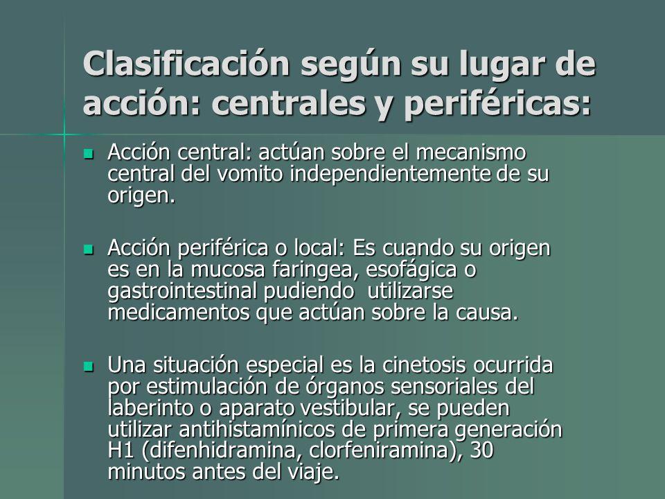 Clasificación según su lugar de acción: centrales y periféricas: Acción central: actúan sobre el mecanismo central del vomito independientemente de su