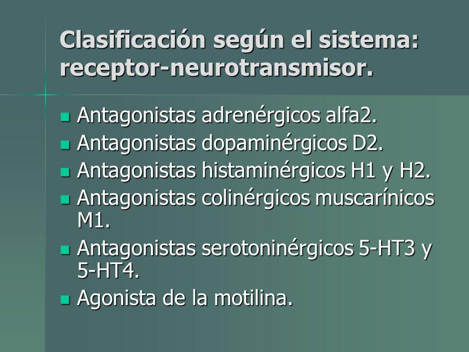 Clasificación según el sistema: receptor-neurotransmisor. Antagonistas adrenérgicos alfa2. Antagonistas adrenérgicos alfa2. Antagonistas dopaminérgico