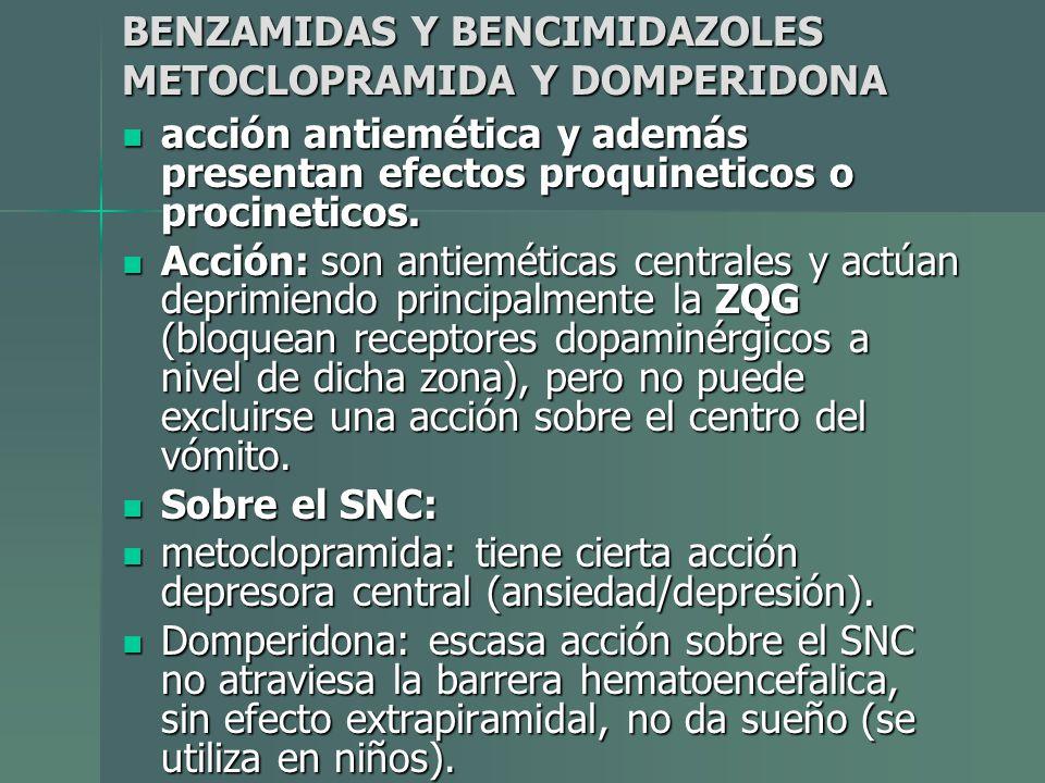 BENZAMIDAS Y BENCIMIDAZOLES METOCLOPRAMIDA Y DOMPERIDONA acción antiemética y además presentan efectos proquineticos o procineticos. acción antiemétic
