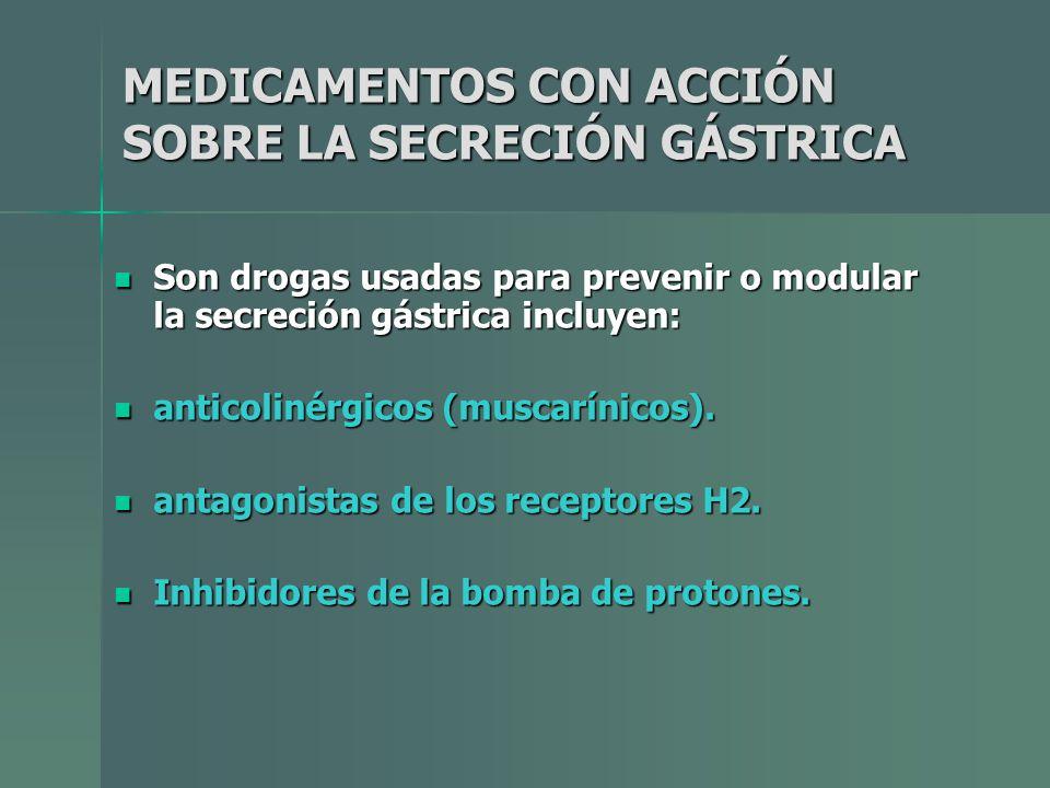 MEDICAMENTOS CON ACCIÓN SOBRE LA SECRECIÓN GÁSTRICA Son drogas usadas para prevenir o modular la secreción gástrica incluyen: Son drogas usadas para p