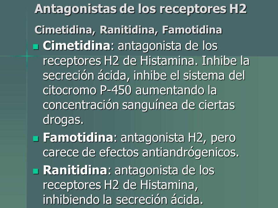 Antagonistas de los receptores H2 Cimetidina, Ranitidina, Famotidina Cimetidina: antagonista de los receptores H2 de Histamina. Inhibe la secreción ác