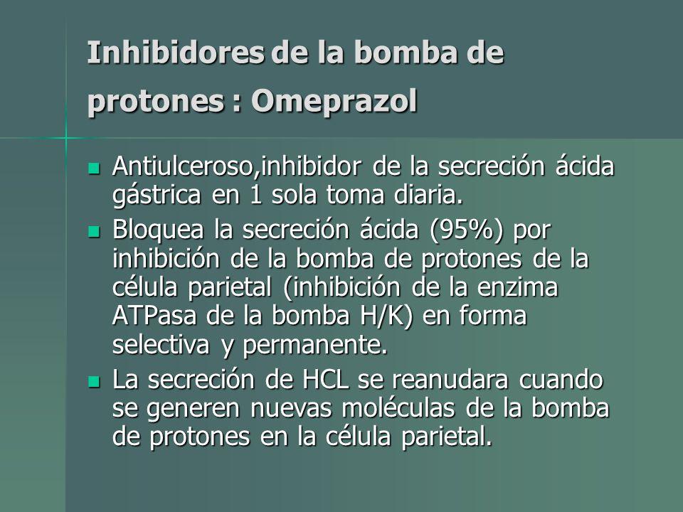 Inhibidores de la bomba de protones : Omeprazol Antiulceroso,inhibidor de la secreción ácida gástrica en 1 sola toma diaria. Antiulceroso,inhibidor de