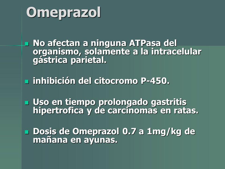 Omeprazol No afectan a ninguna ATPasa del organismo, solamente a la intracelular gástrica parietal. No afectan a ninguna ATPasa del organismo, solamen