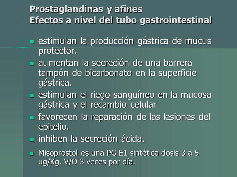 estimulan la producción gástrica de mucus protector. estimulan la producción gástrica de mucus protector. aumentan la secreción de una barrera tampón