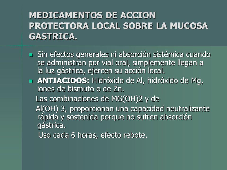 MEDICAMENTOS DE ACCION PROTECTORA LOCAL SOBRE LA MUCOSA GASTRICA. Sin efectos generales ni absorción sistémica cuando se administran por vial oral, si