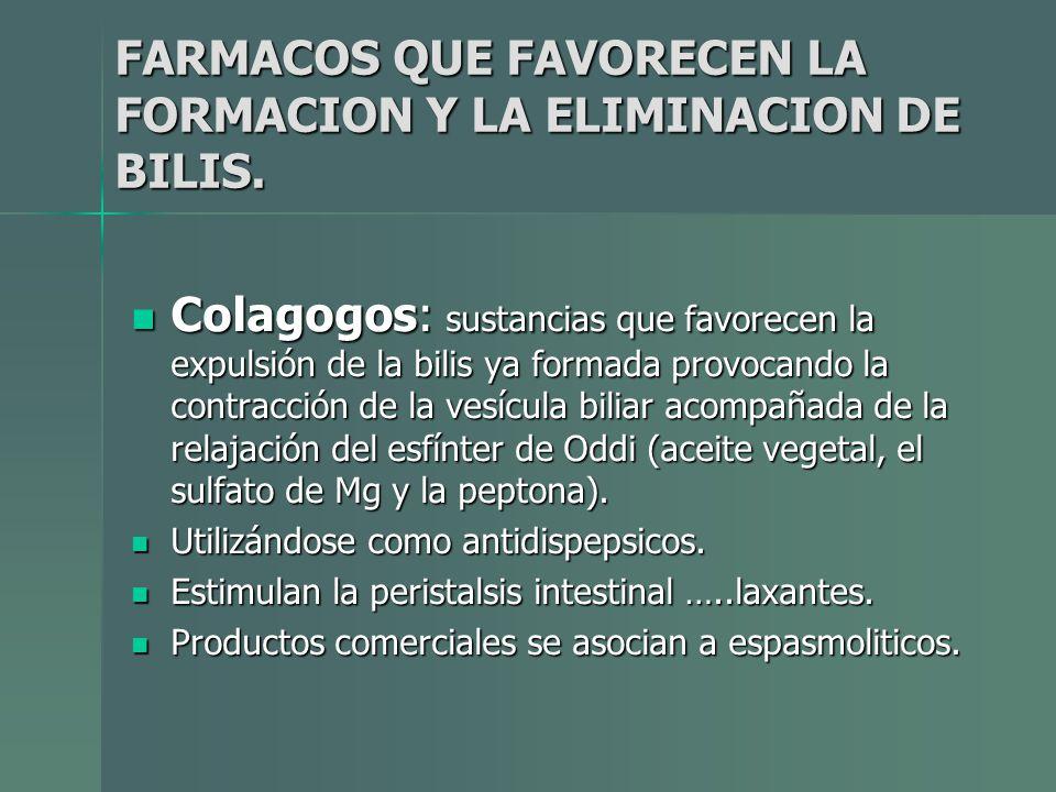 FARMACOS QUE FAVORECEN LA FORMACION Y LA ELIMINACION DE BILIS. Colagogos: sustancias que favorecen la expulsión de la bilis ya formada provocando la c