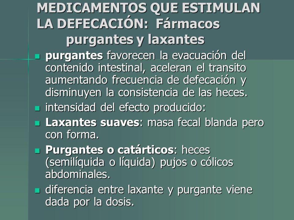 MEDICAMENTOS QUE ESTIMULAN LA DEFECACIÓN: Fármacos purgantes y laxantes purgantes favorecen la evacuación del contenido intestinal, aceleran el transi