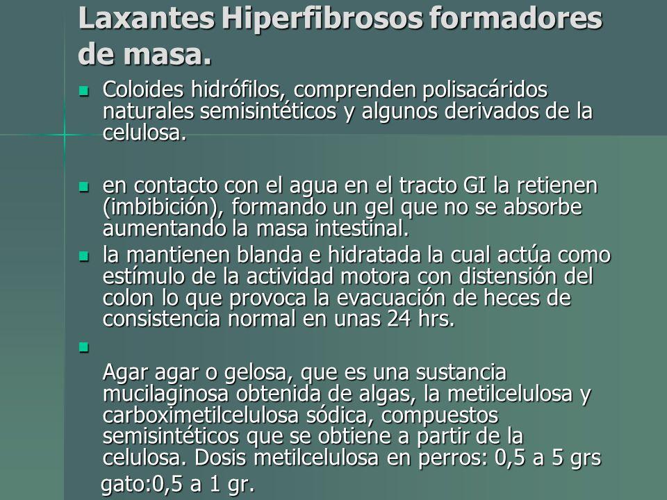 Laxantes Hiperfibrosos formadores de masa. Coloides hidrófilos, comprenden polisacáridos naturales semisintéticos y algunos derivados de la celulosa.