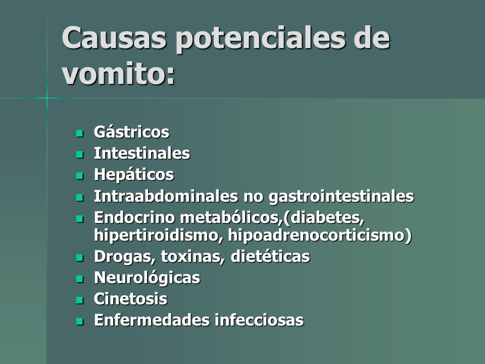 Causas potenciales de vomito: Gástricos Gástricos Intestinales Intestinales Hepáticos Hepáticos Intraabdominales no gastrointestinales Intraabdominale