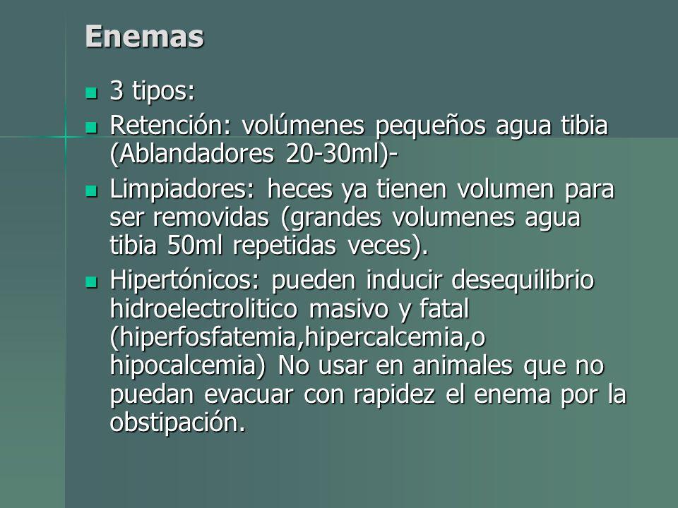 Enemas 3 tipos: 3 tipos: Retención: volúmenes pequeños agua tibia (Ablandadores 20-30ml)- Retención: volúmenes pequeños agua tibia (Ablandadores 20-30