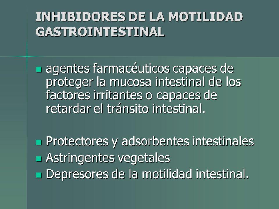INHIBIDORES DE LA MOTILIDAD GASTROINTESTINAL agentes farmacéuticos capaces de proteger la mucosa intestinal de los factores irritantes o capaces de re