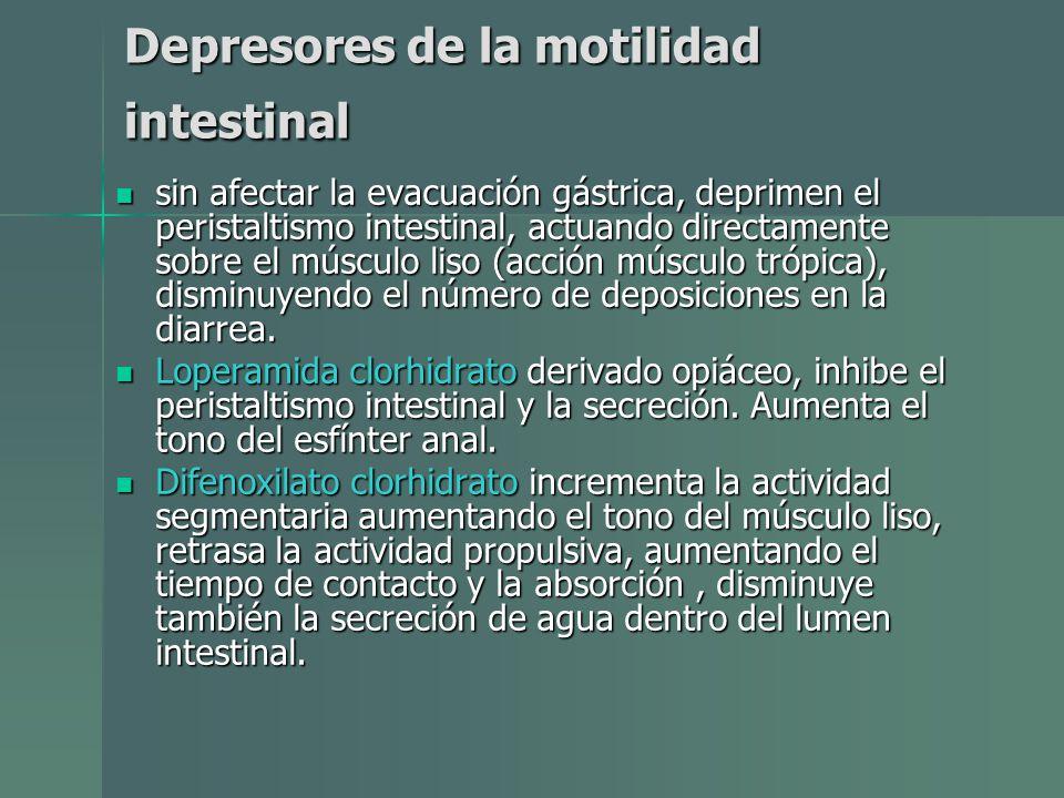 Depresores de la motilidad intestinal sin afectar la evacuación gástrica, deprimen el peristaltismo intestinal, actuando directamente sobre el músculo