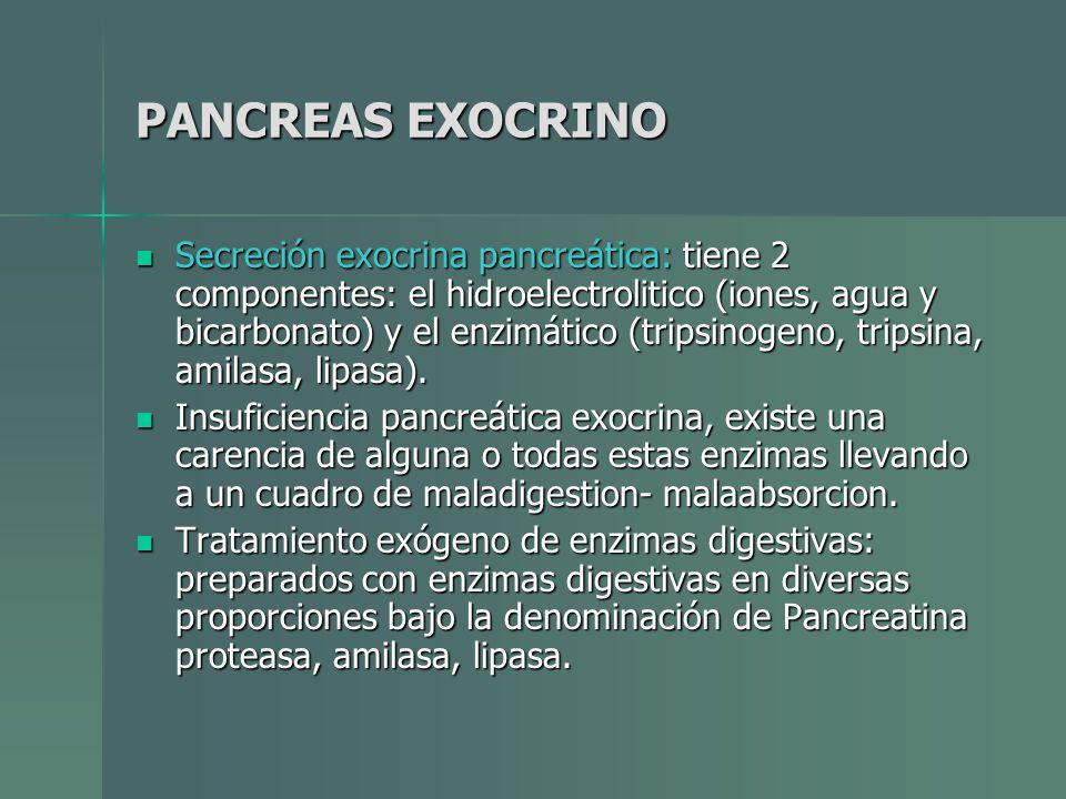 PANCREAS EXOCRINO Secreción exocrina pancreática: tiene 2 componentes: el hidroelectrolitico (iones, agua y bicarbonato) y el enzimático (tripsinogeno