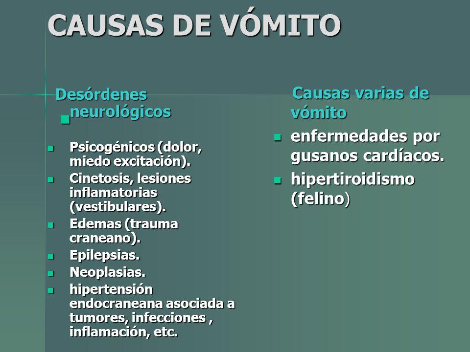 CAUSAS DE VÓMITO Desórdenes neurológicos Desórdenes neurológicos Psicogénicos (dolor, miedo excitación). Psicogénicos (dolor, miedo excitación). Cinet