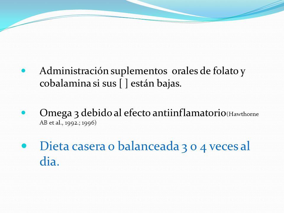 Administración suplementos orales de folato y cobalamina si sus [ ] están bajas. Omega 3 debido al efecto antiinflamatorio (Hawthorne AB et al., 1992.