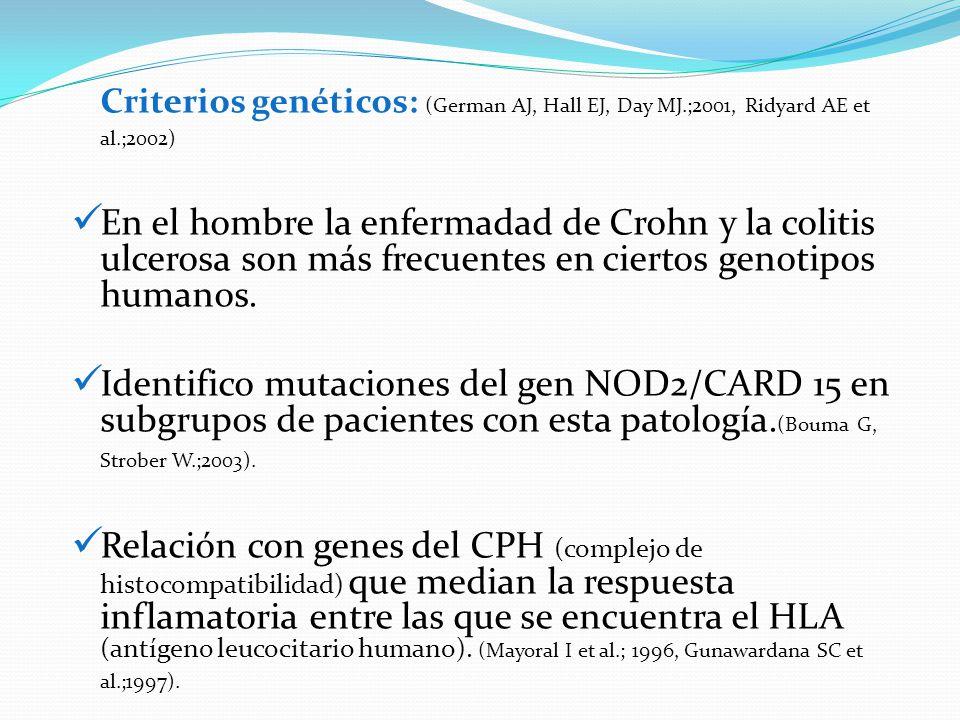 Criterios genéticos: (German AJ, Hall EJ, Day MJ.;2001, Ridyard AE et al.;2002) En el hombre la enfermadad de Crohn y la colitis ulcerosa son más frec