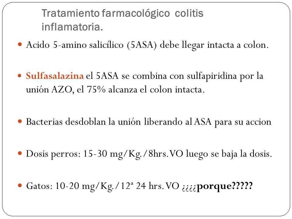 Tratamiento farmacológico colitis inflamatoria. Acido 5-amino salicílico (5ASA) debe llegar intacta a colon. Sulfasalazina el 5ASA se combina con sulf