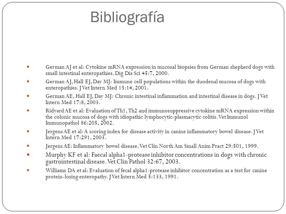 German AJ et al: Cytokine mRNA expression in mucosal biopsies from German shepherd dogs with small intestinal enteropathies.