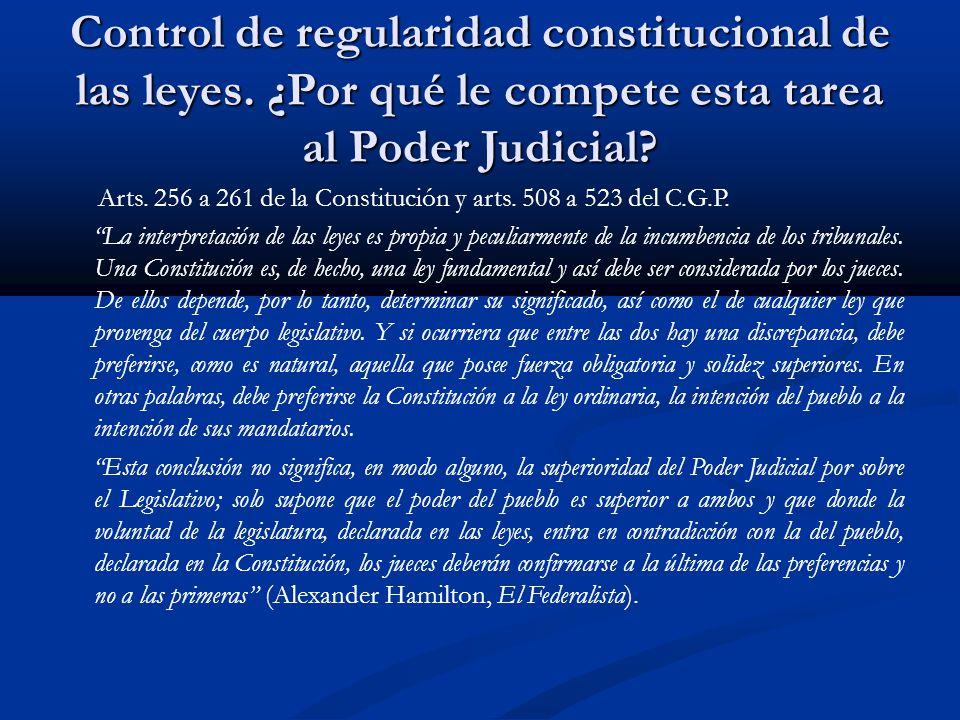 Control de regularidad constitucional de las leyes.