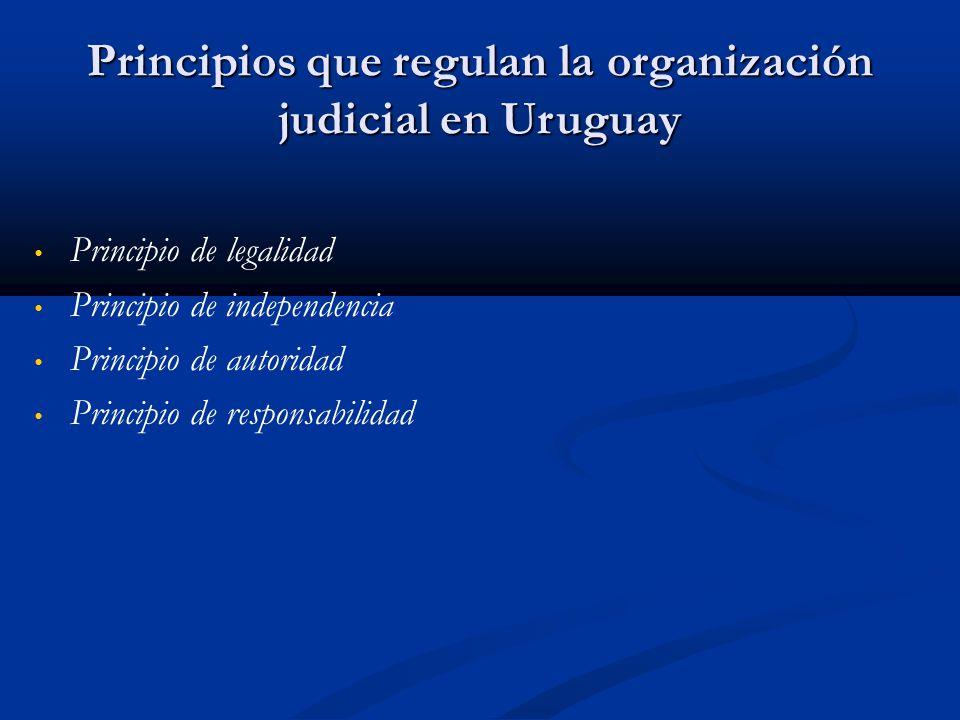 Principios que regulan la organización judicial en Uruguay Principio de legalidad Principio de independencia Principio de autoridad Principio de responsabilidad
