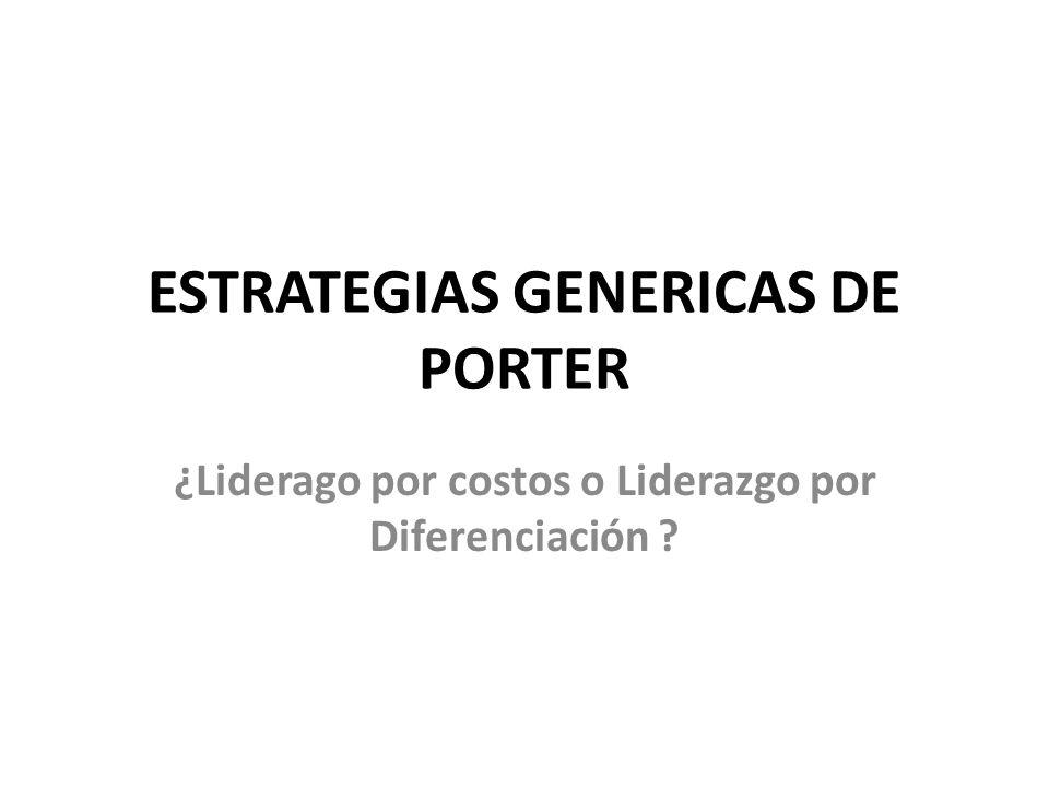 ESTRATEGIAS GENERICAS DE PORTER ¿Liderago por costos o Liderazgo por Diferenciación ?