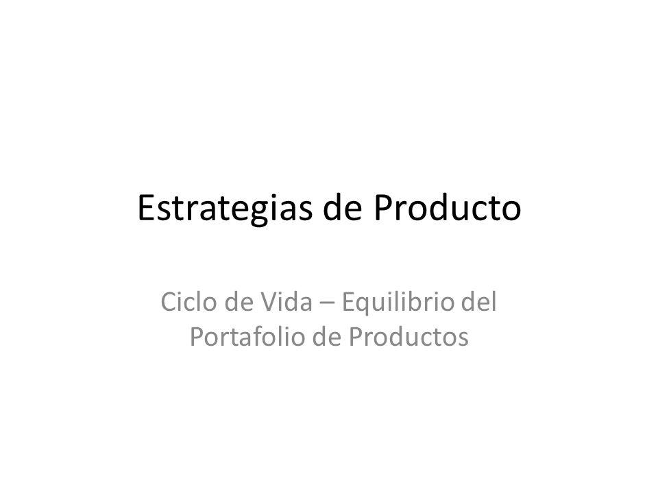 Estrategias de Producto Ciclo de Vida – Equilibrio del Portafolio de Productos