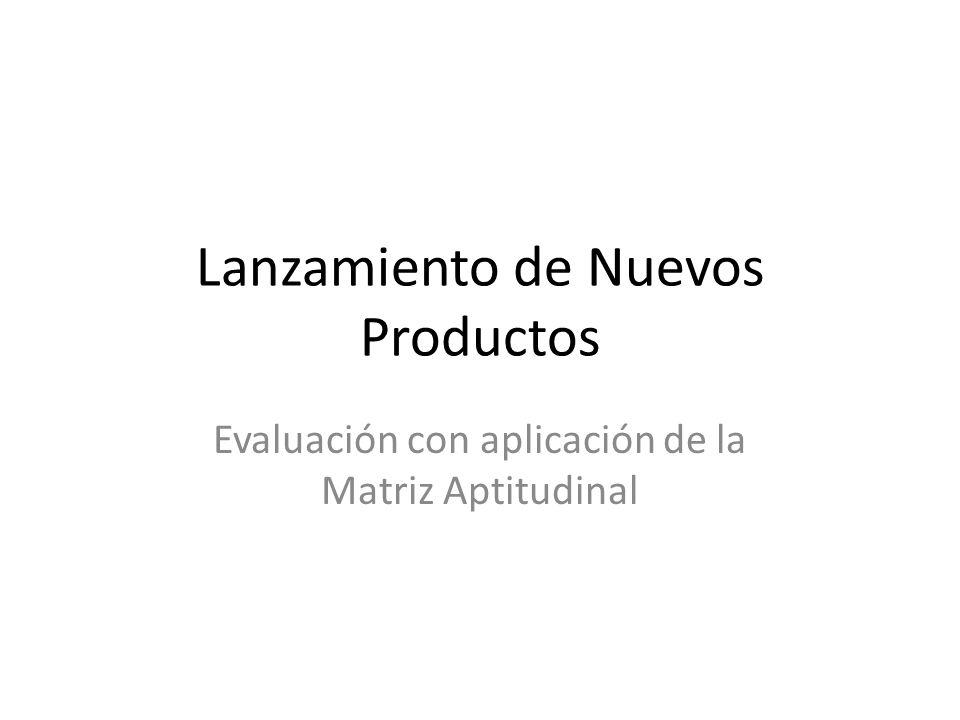 Lanzamiento de Nuevos Productos Evaluación con aplicación de la Matriz Aptitudinal