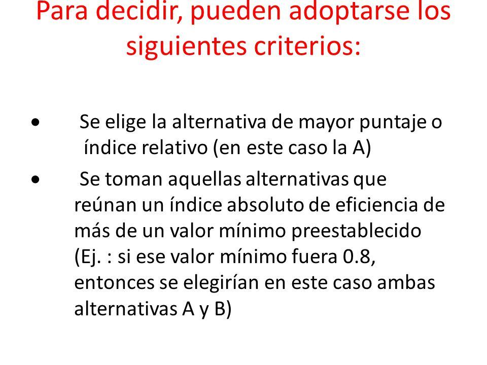Para decidir, pueden adoptarse los siguientes criterios: Se elige la alternativa de mayor puntaje o índice relativo (en este caso la A) Se toman aquel