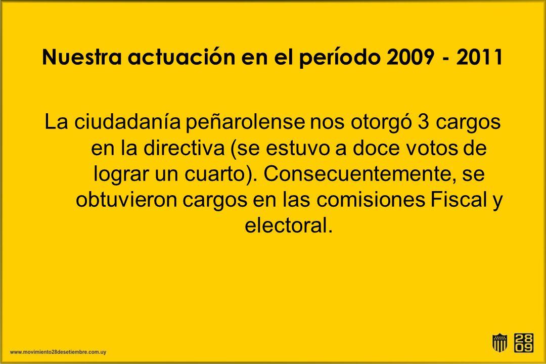Nuestra actuación en el período 2009 - 2011 La ciudadanía peñarolense nos otorgó 3 cargos en la directiva (se estuvo a doce votos de lograr un cuarto)