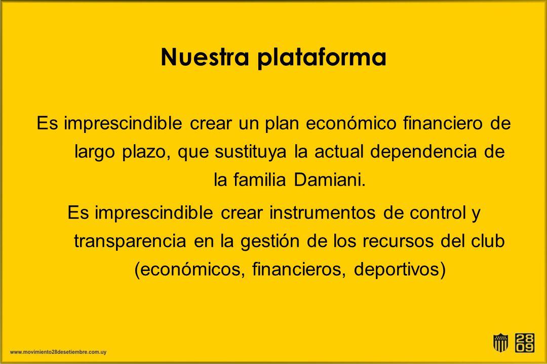 Nuestra plataforma Es imprescindible crear un plan económico financiero de largo plazo, que sustituya la actual dependencia de la familia Damiani. Es