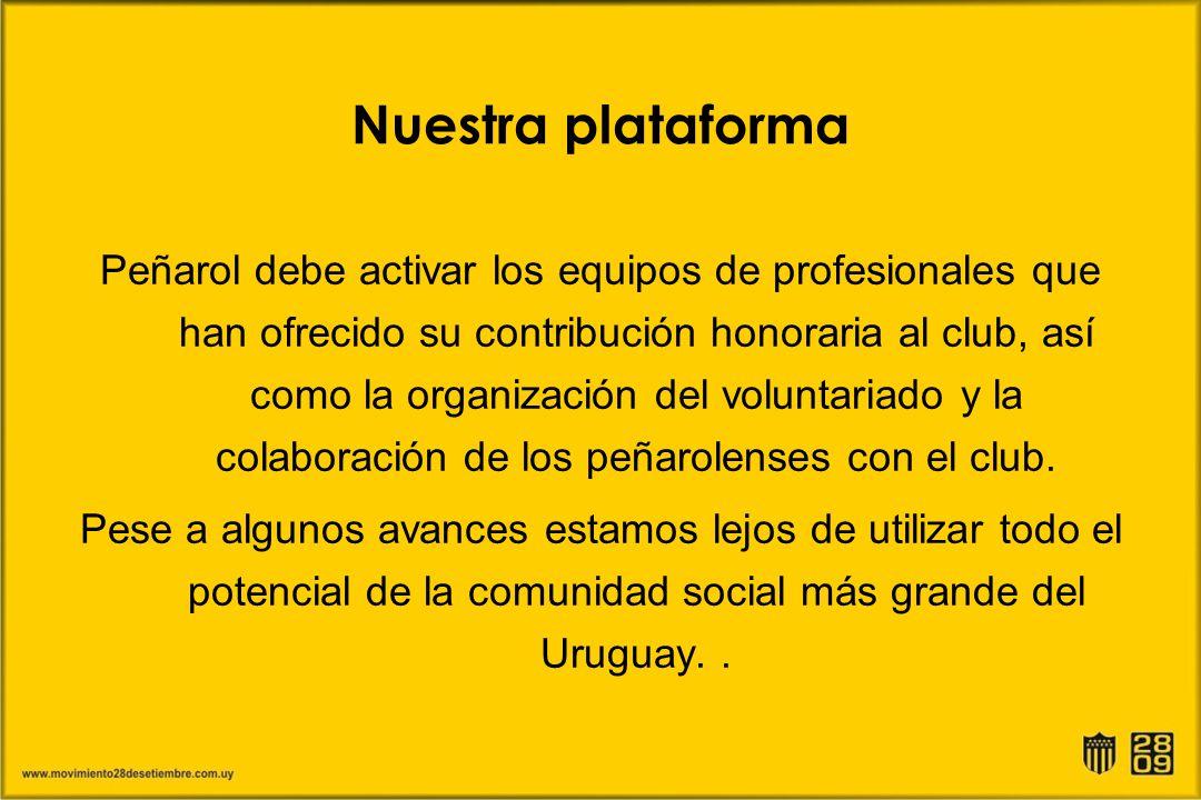Nuestra plataforma Peñarol debe activar los equipos de profesionales que han ofrecido su contribución honoraria al club, así como la organización del